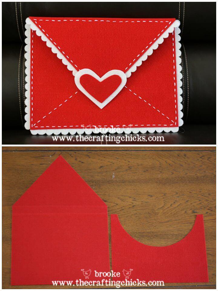 Sobres de San Valentín de fieltro de bricolaje