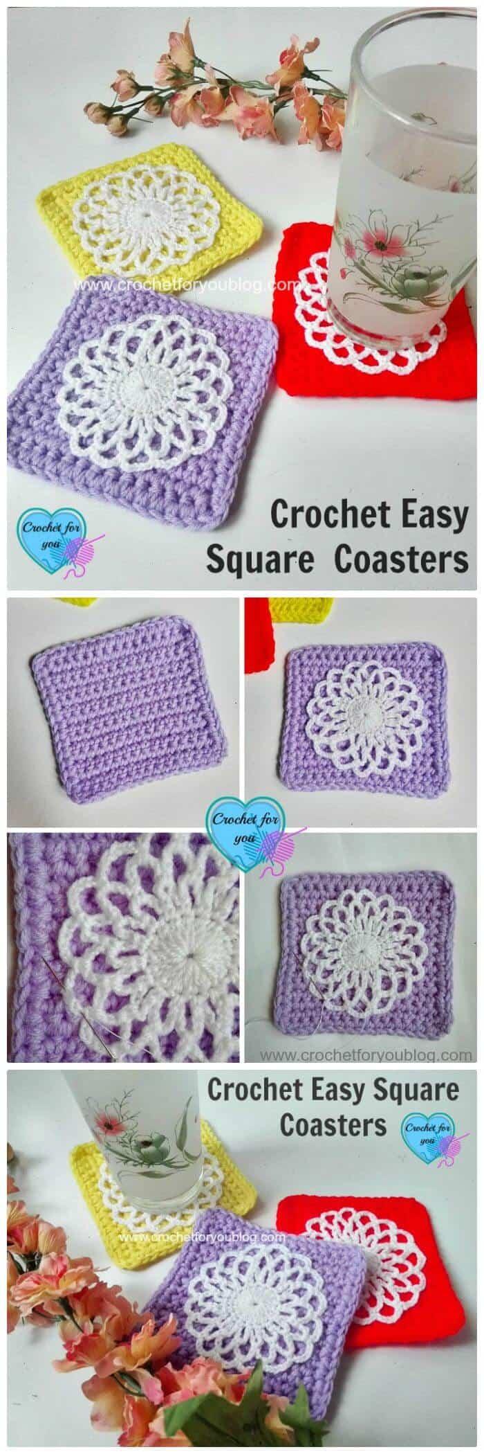 DIY Free Crochet Easy Square Coaster Pattern, ¡Patrones de posavasos de crochet fáciles y gratuitos para los amantes del crochet!