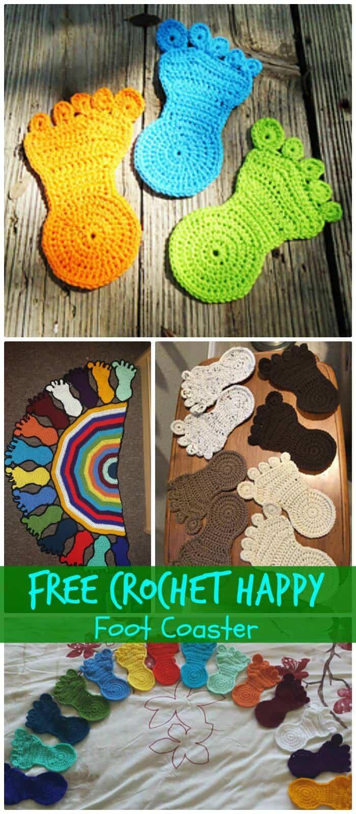 DIY Free Crochet Happy Foot Coaster, ¡Cómo tejer una montaña rusa para principiantes!