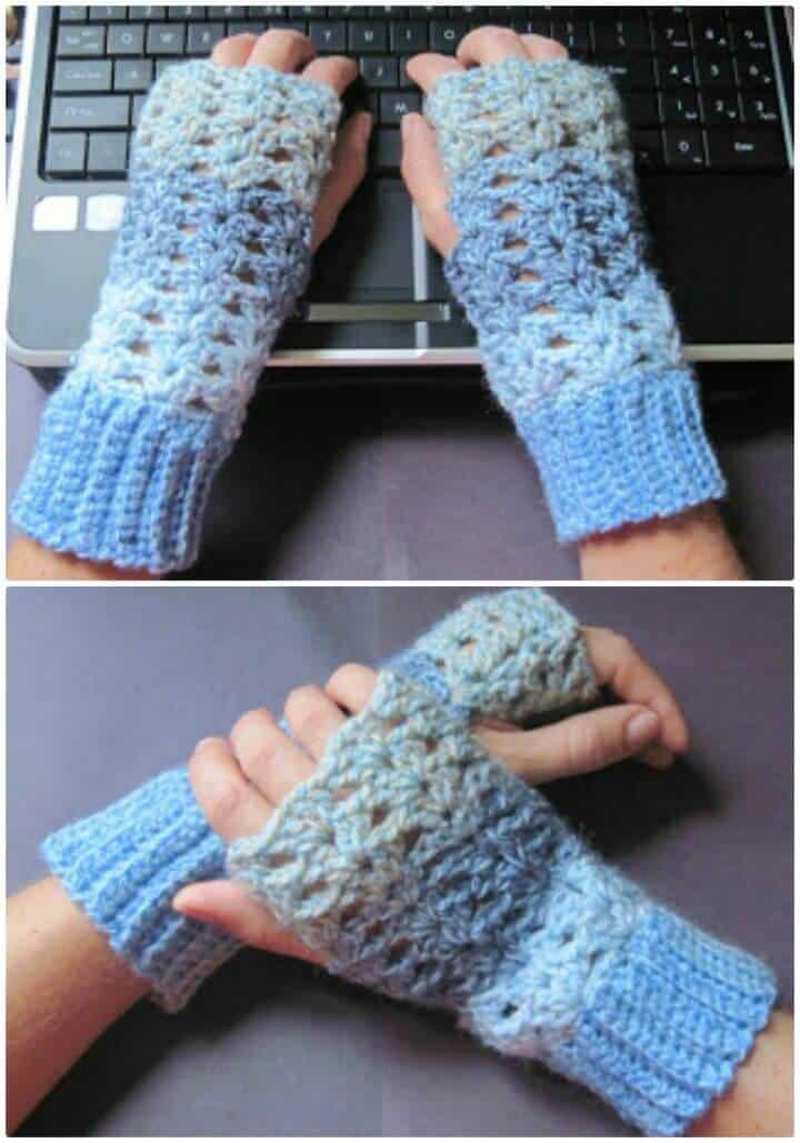 Patrón de guantes sin dedos de ganchillo gratis