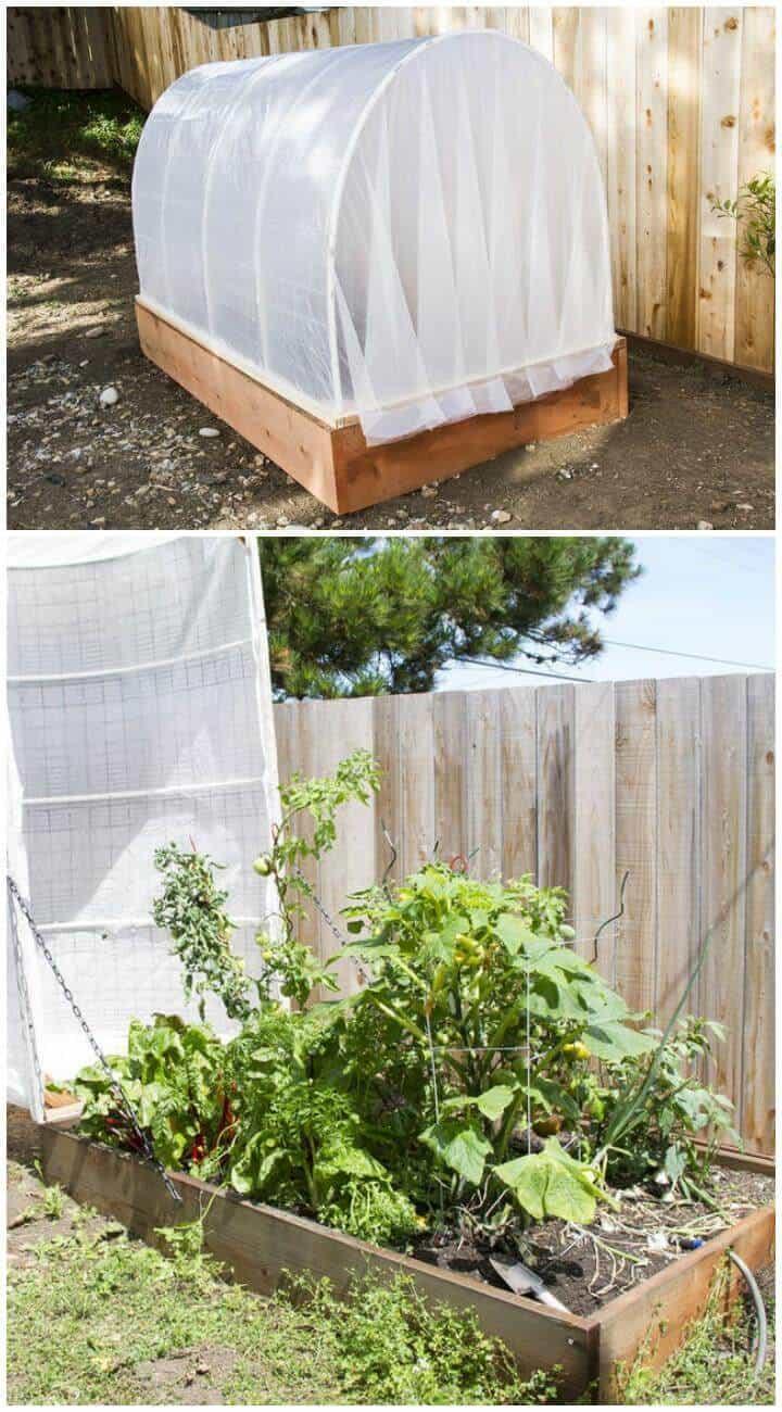 Invernadero de jardín de bricolaje con cubierta extraíble