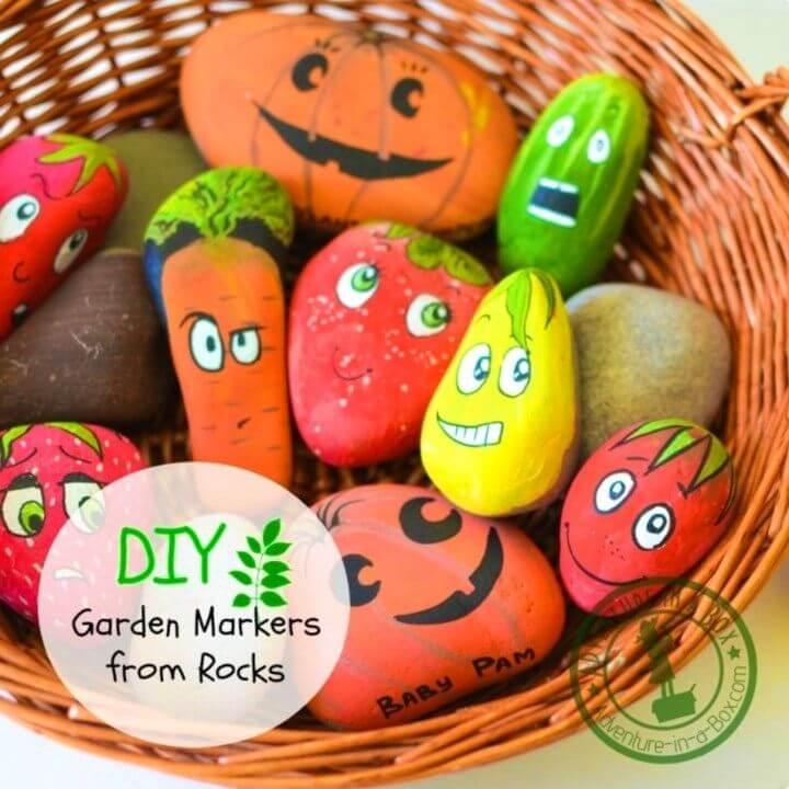 Marcadores de jardín para bricolaje de Rocks, Rock Painted para Garden, Painted Rock para exteriores, Verduras de rock pintadas