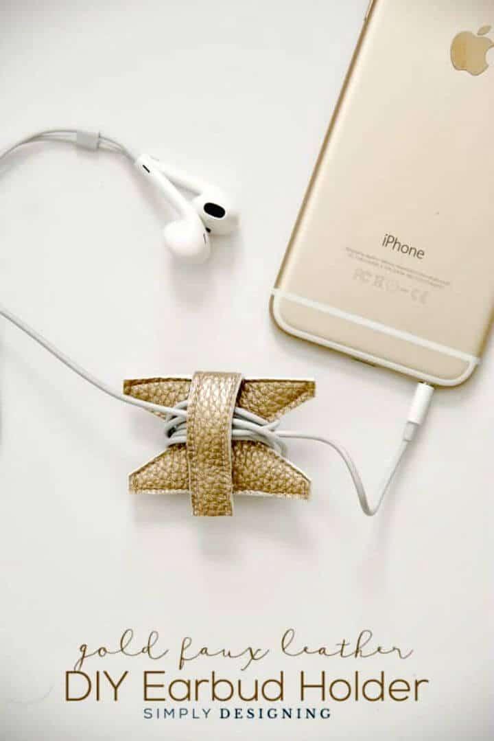 Idea de regalo de soporte de auricular de cuero sintético dorado para bricolaje