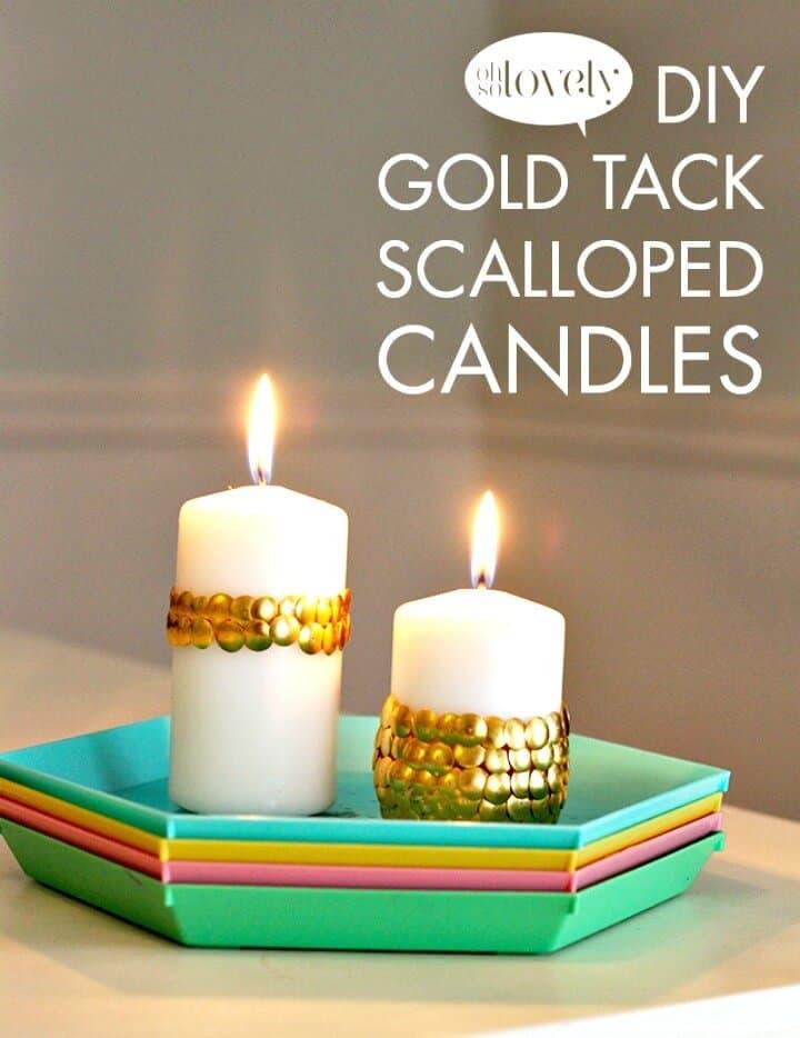 Lindas velas festoneadas DIY Gold Tack