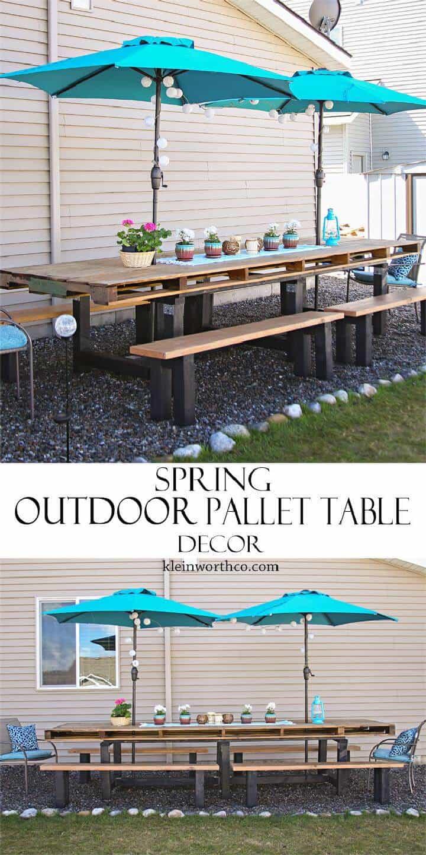 Decoración de mesa de paleta al aire libre hermosa primavera de bricolaje