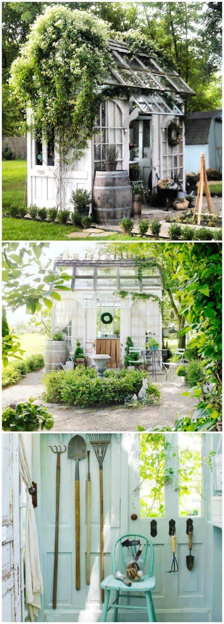 Invernadero de bricolaje hecho de puertas y ventanas viejas