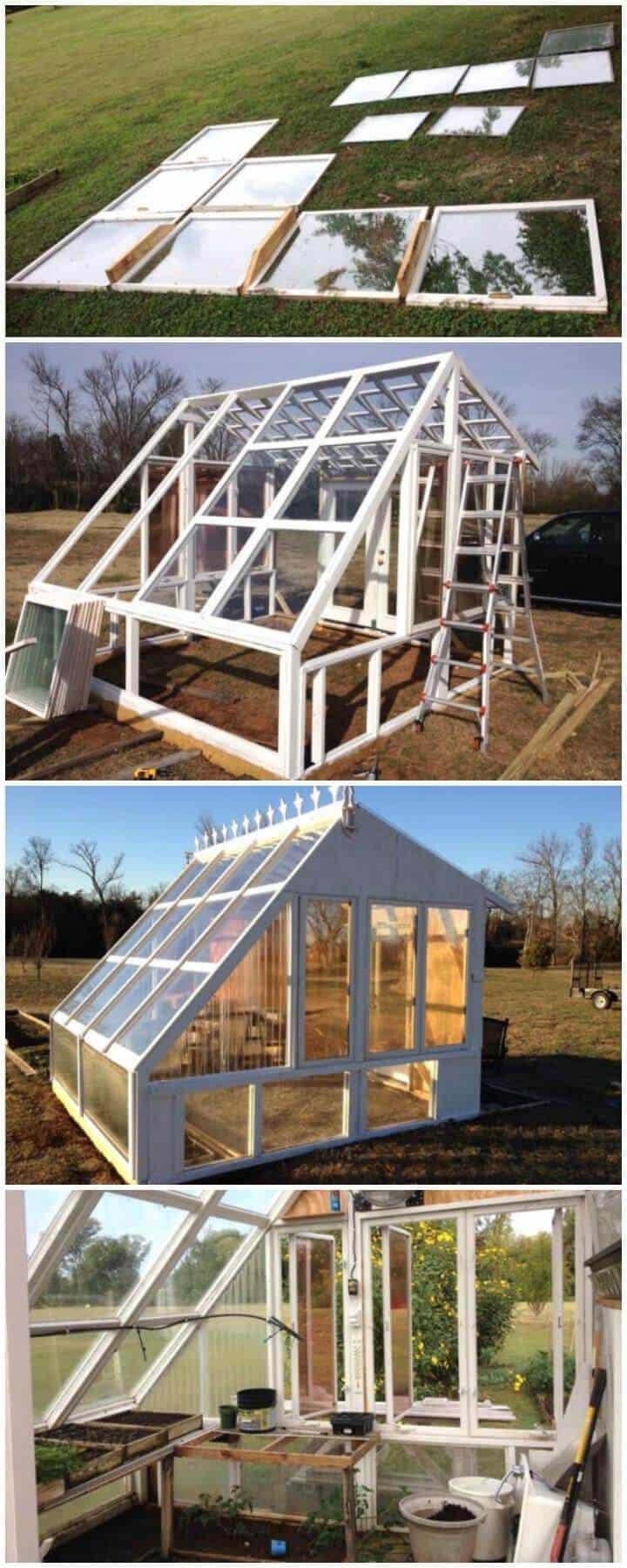 Invernadero de bricolaje hecho de ventanas viejas
