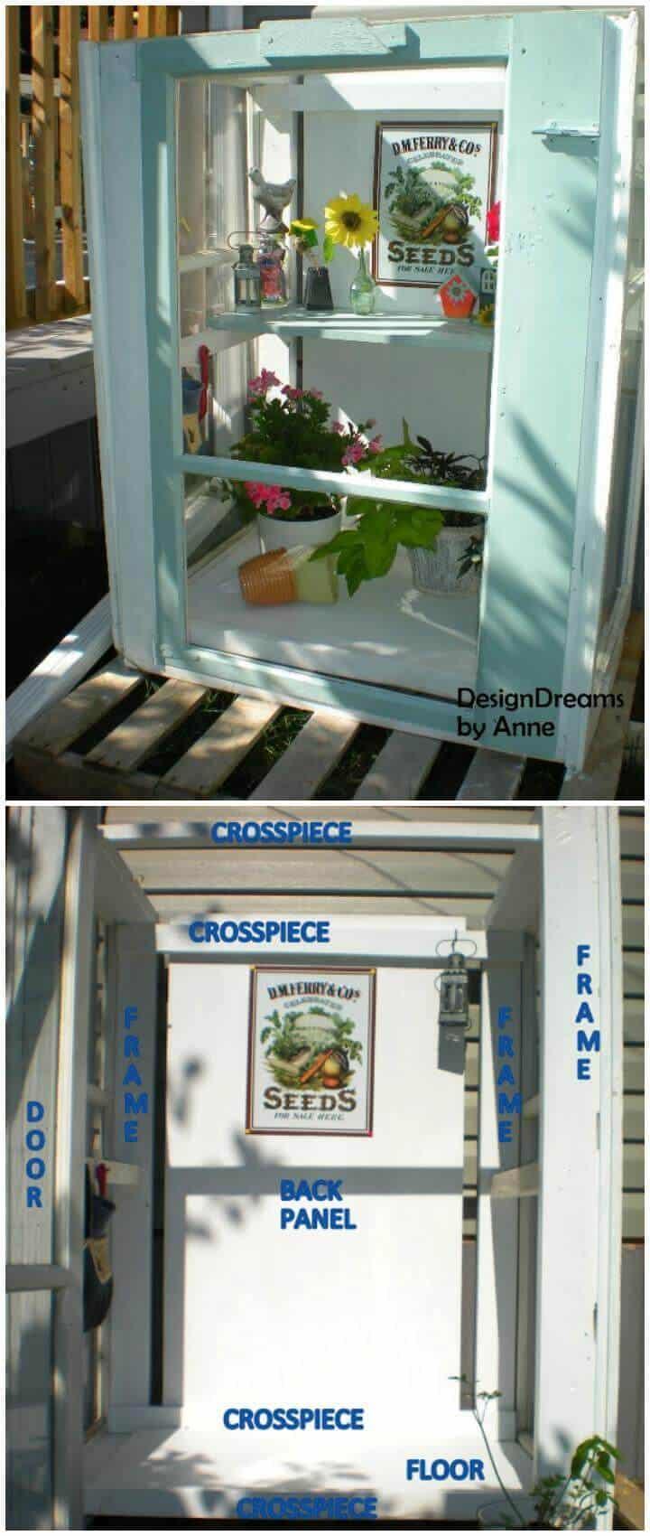 Invernadero de bricolaje hecho de ventanas de tormenta