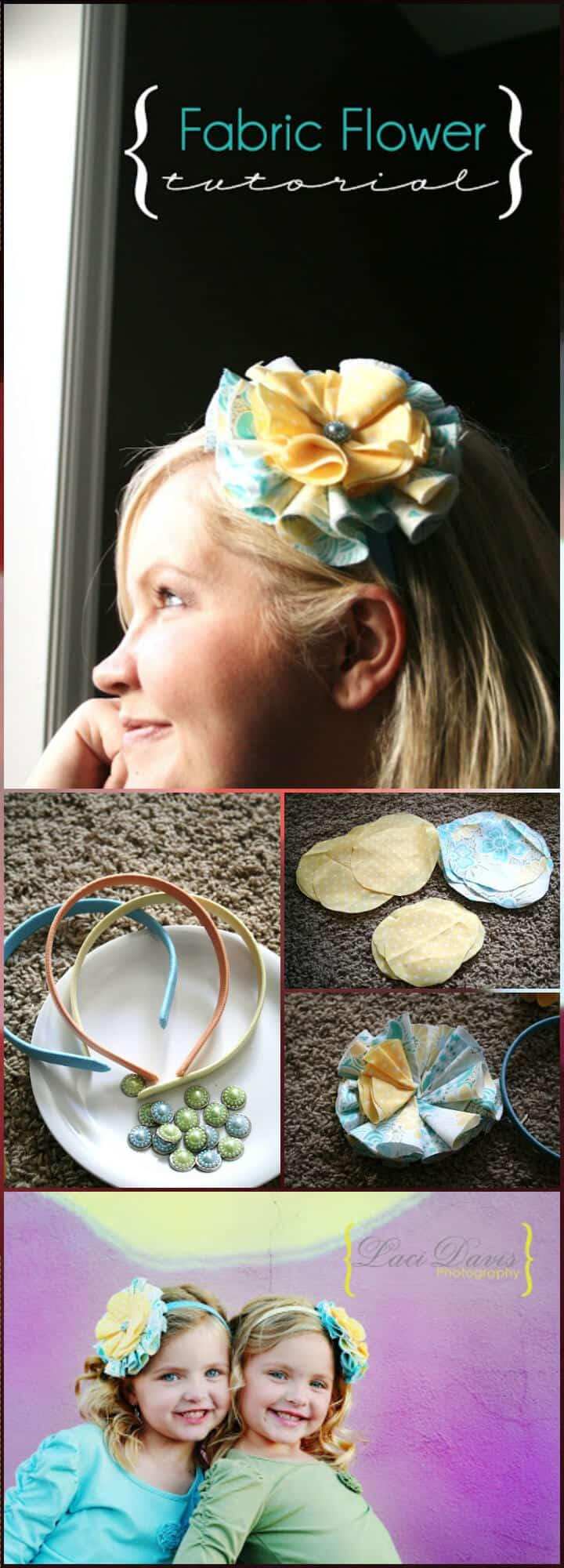 Flor de tela de colector de pelo hecha a mano de bricolaje