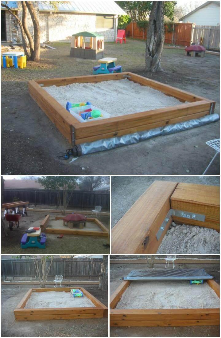 Caja de arena hecha a mano de bricolaje con lona enrollable