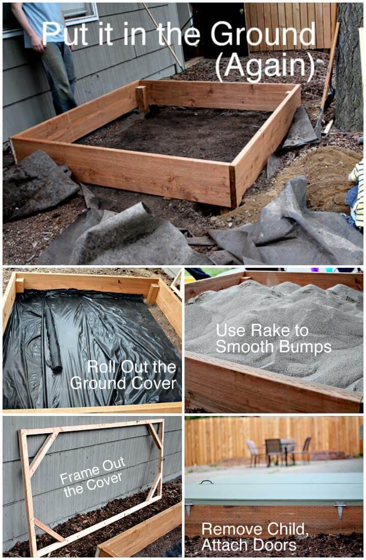 Caja de arena de madera hecha a mano con bricolaje con puerta con bisagras