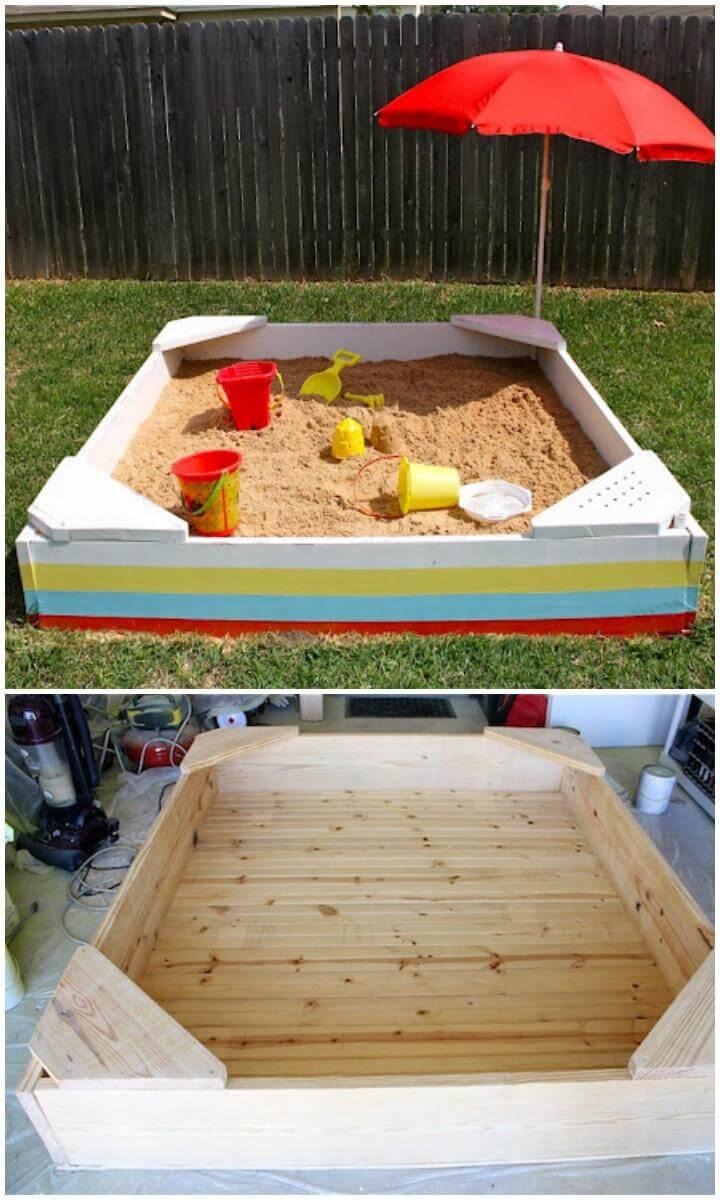 Caja de arena de madera hecha a mano de bricolaje con paraguas