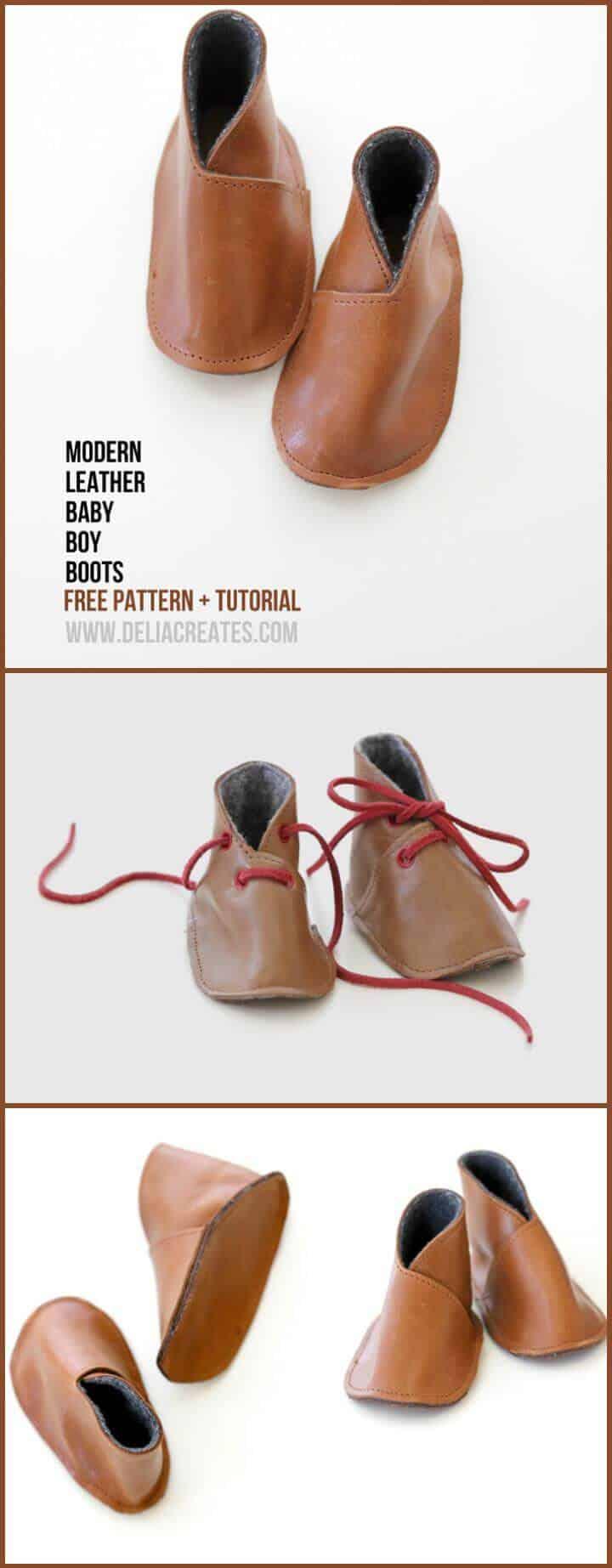 zapatos de bebé de cuero modernos hechos a sí mismos