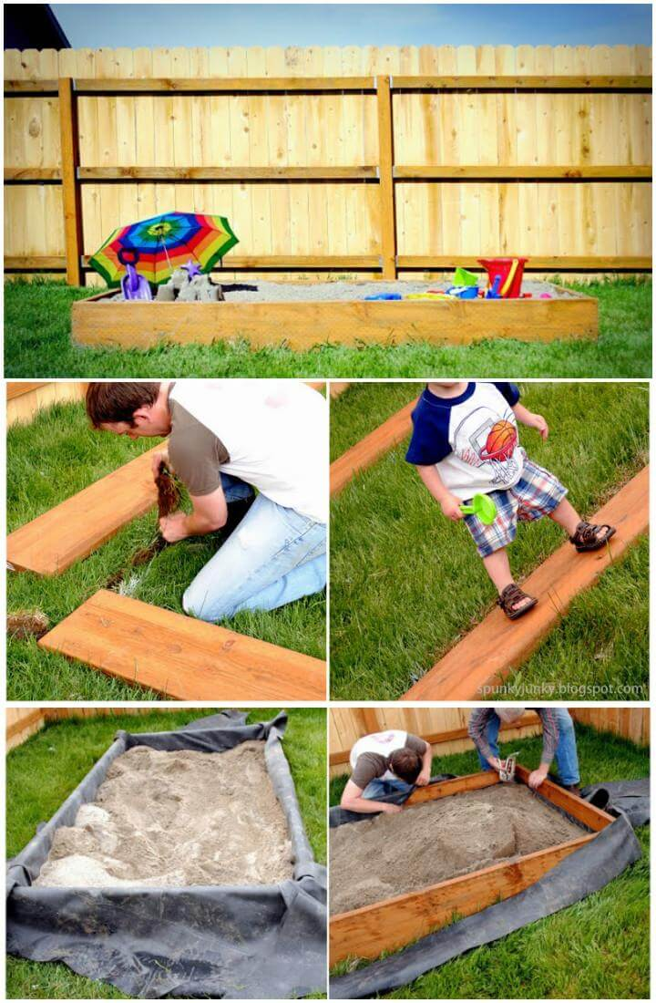 Caja de arena de madera hecha a mano de bricolaje o niñera