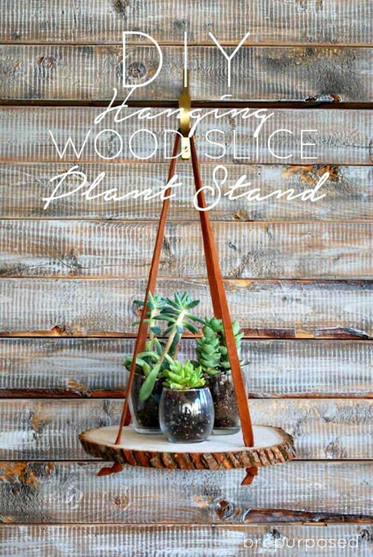 Soporte de planta de rebanada de madera colgante de bricolaje