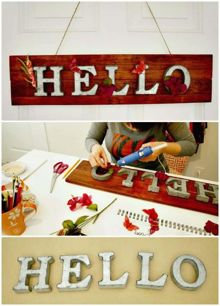 """Letrero de madera de palet y metal de primavera de bricolaje """"Hola"""""""