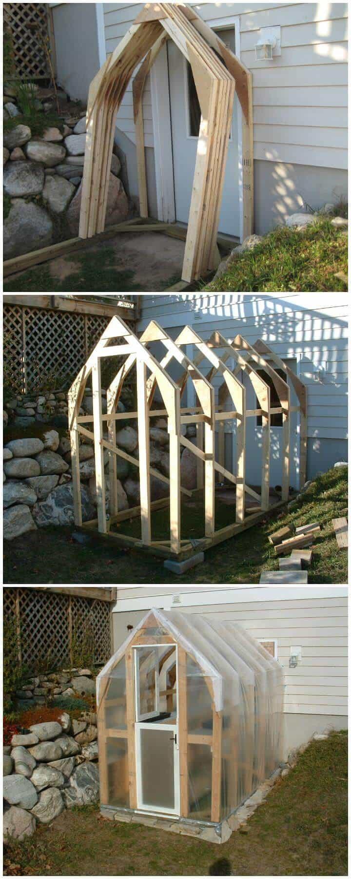 Invernadero de madera hermoso hecho en casa de bricolaje