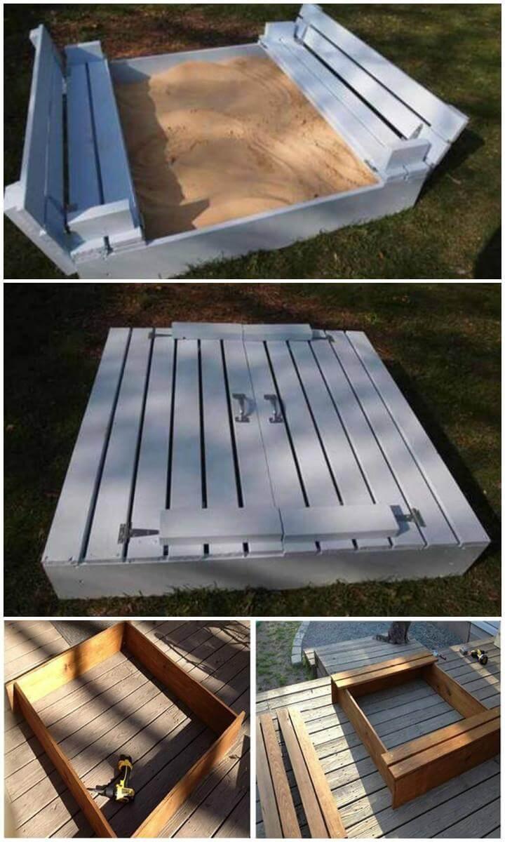 Caja de arena de madera para niños hecha en casa de bricolaje con asientos adjuntos