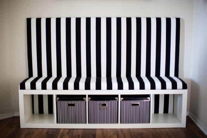 Bricolaje IKEA Kallax Asiento de banqueta en blanco y negro