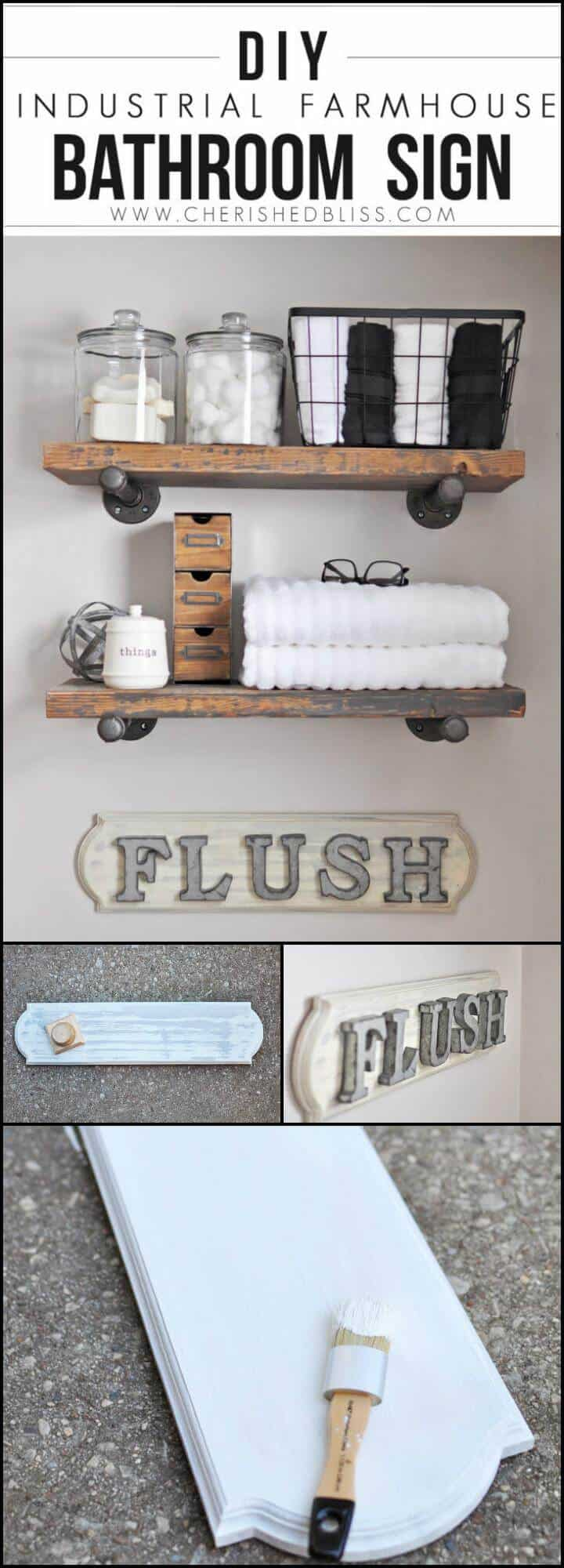 Signo de baño de granja industrial hecho a mano fácil
