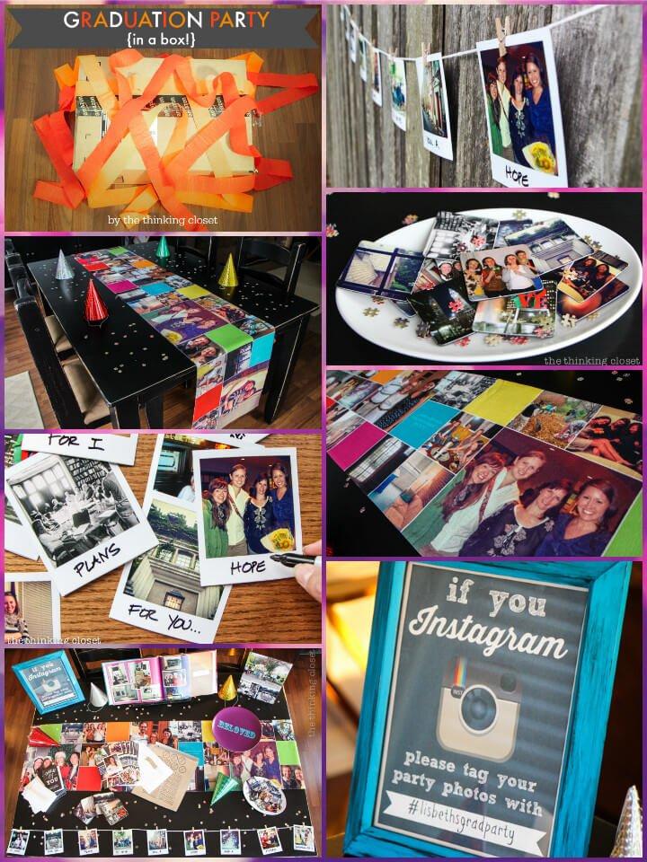 hermosa fiesta de graduación con tema de instagram en una caja