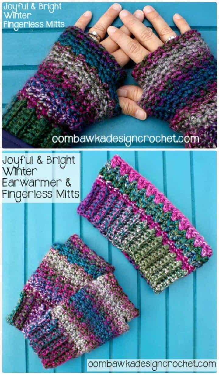 Patrón de manoplas sin dedos de invierno alegre y brillante de ganchillo gratis