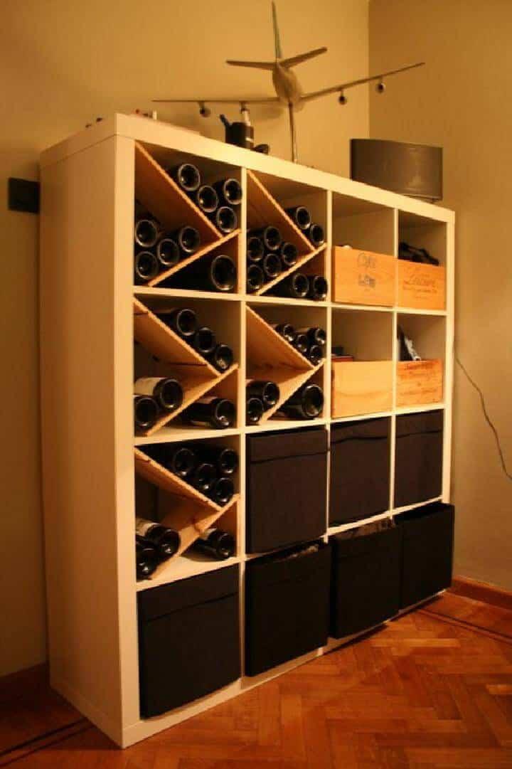 Botellero para bebidas DIY Kallax con compartimentos de almacenamiento adicionales