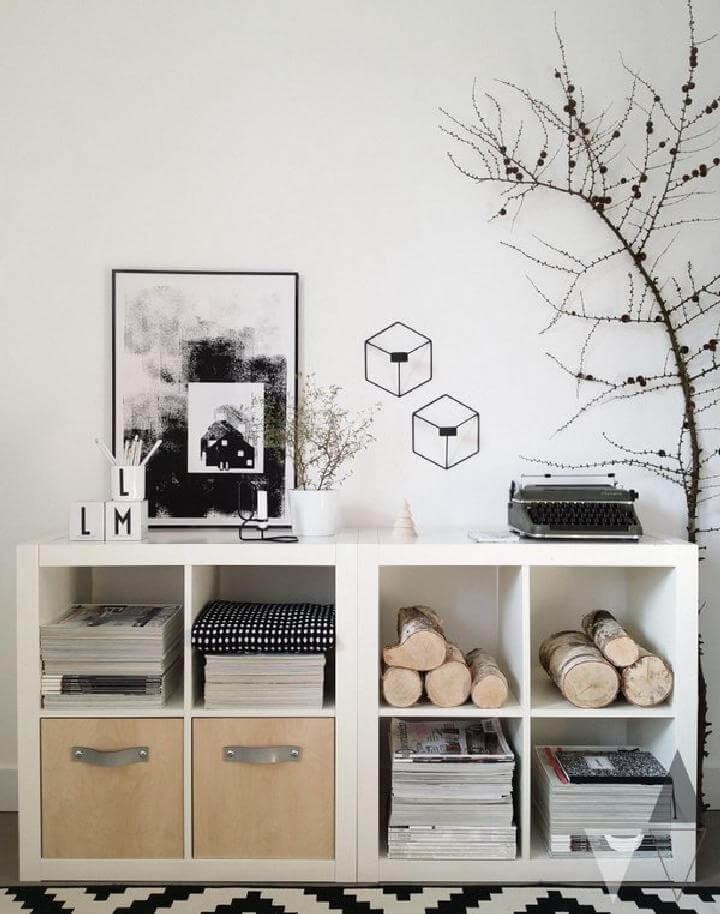 Estanterías de bricolaje Kallax en unidad de almacenamiento con elementos naturales