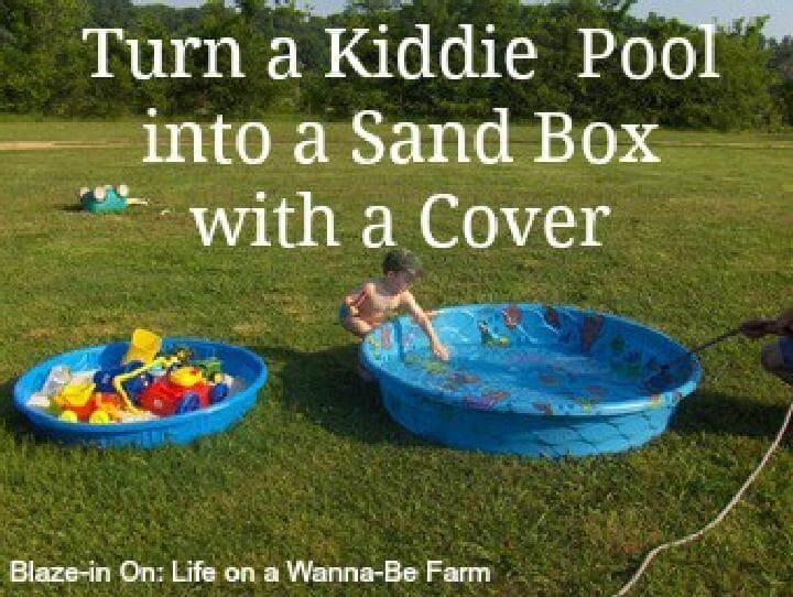 Piscina para niños de bricolaje en caja de arena