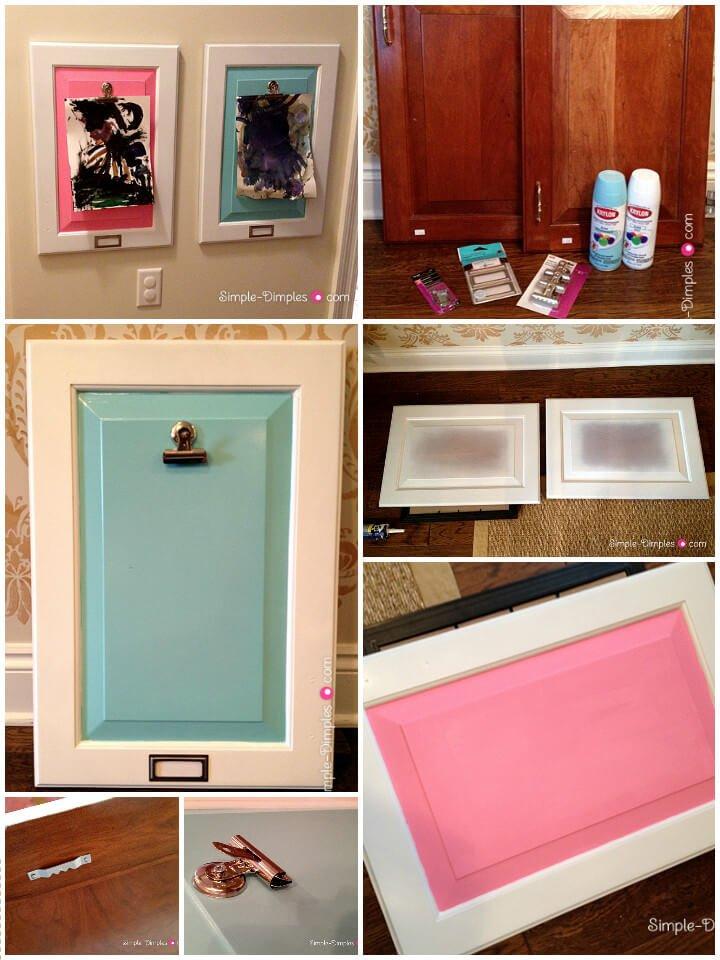 puerta de gabinete recuperada en marcos de exhibición de obras de arte para niños