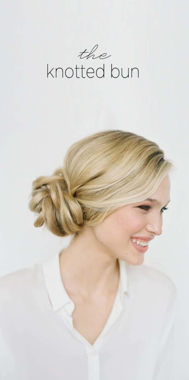 Peinado de boda de moño anudado de bricolaje
