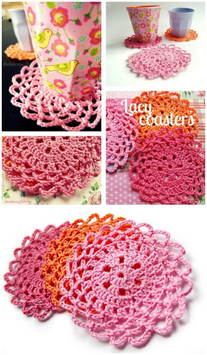 DIY Lacy Crochet Coasters-Free Pattern, ¡Patrones de posavasos de ganchillo gratis con tutoriales sencillos!  ¡Cómo tejer una montaña rusa para principiantes!