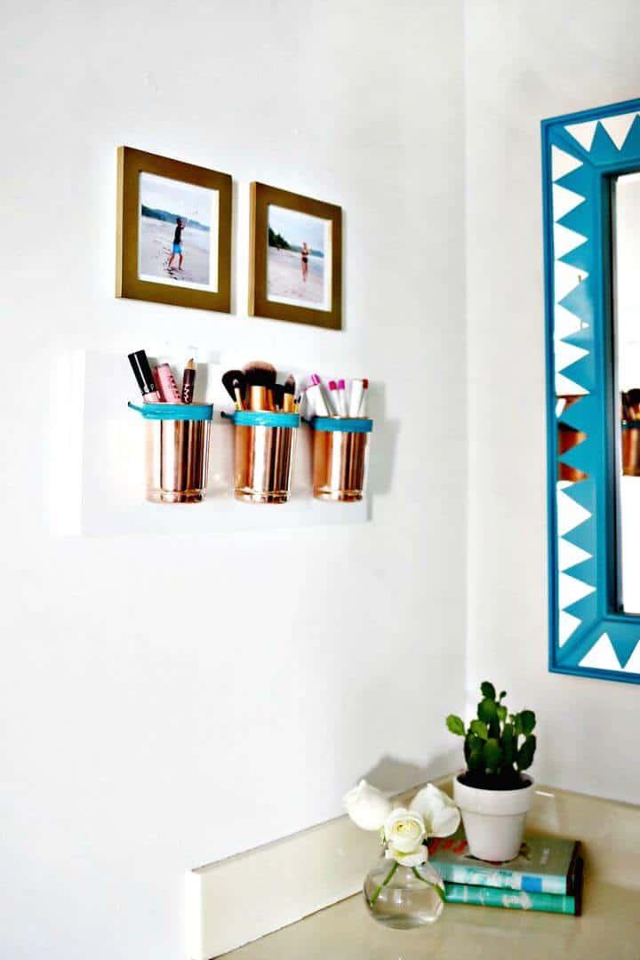 Organizador de maquillaje de cuero + cobre - Ideas de almacenamiento de bricolaje