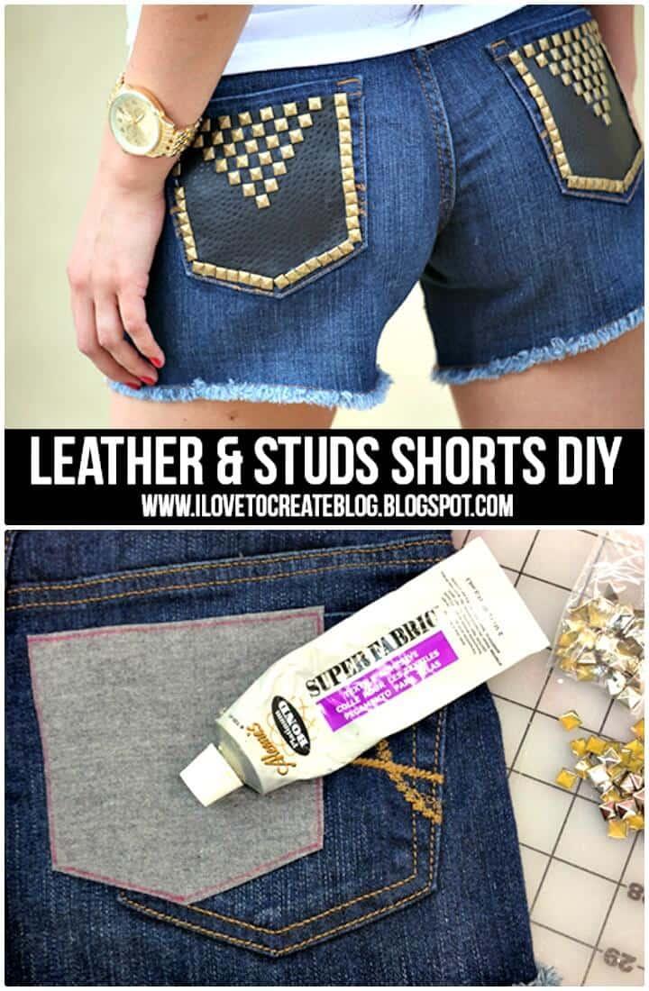 Pantalones cortos de cuero y tachuelas para el verano