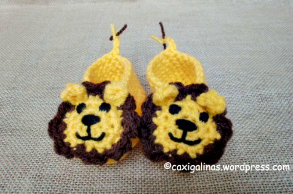 Botines de león fáciles de crochet - Patrón gratuito