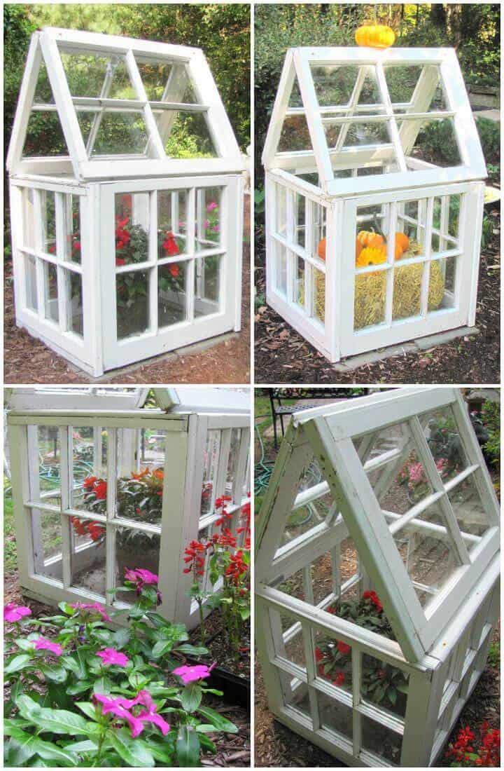 Pequeño invernadero de ventanas reutilizado de bricolaje