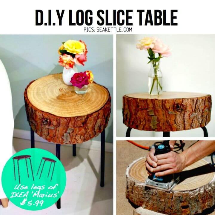 Fácil mesa auxiliar para cortar troncos de bricolaje con las patas de Ikea Marius