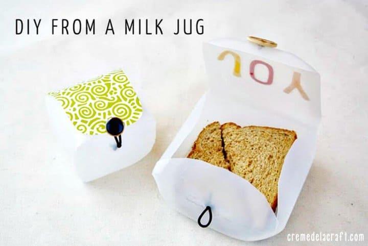 Cómo hacer un recipiente de lonchera con una jarra de leche - bricolaje