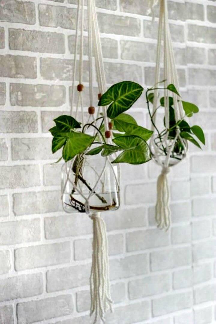 Soporte para plantas colgante de macramé de vidrio para bricolaje - Tutorial completo