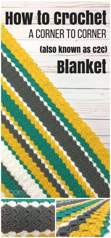 DIY Make Crochet A Corner To Corner (C2C) Throw + Video Tutorial, tutoriales sencillos para crochet c2c.
