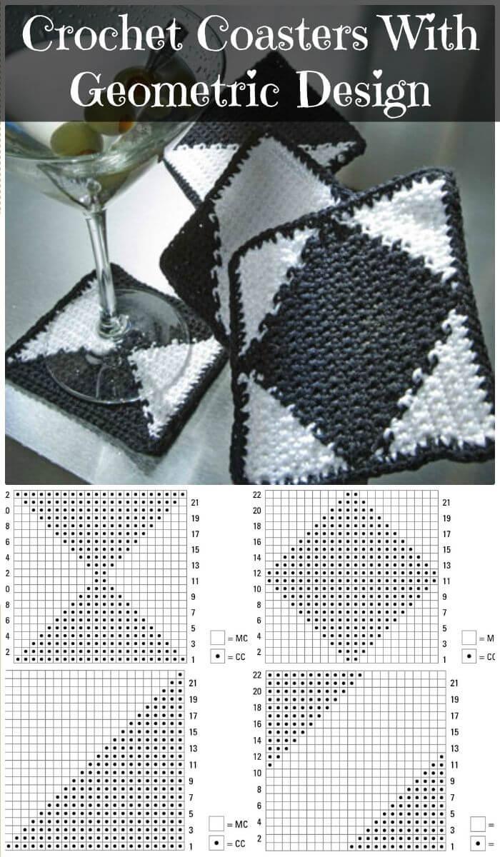 DIY Haz posavasos de ganchillo con un diseño geométrico, posavasos de ganchillo rápidos y fáciles con patrones gratuitos completos.  ¡Patrones sencillos de crochet posavasos gratis!