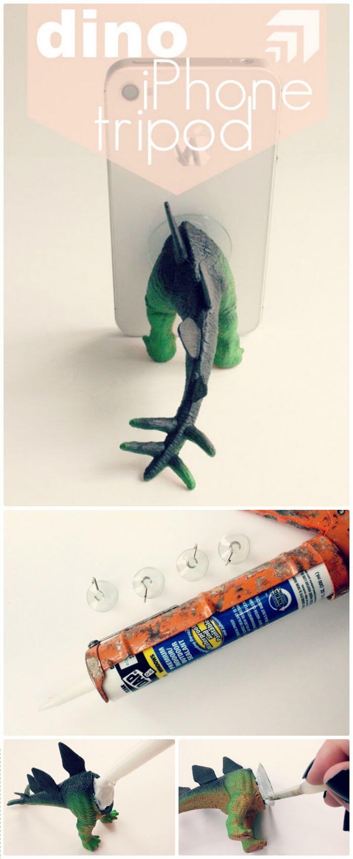 Trípode para iPhone DIY Dino - Idea de tienda de dólar