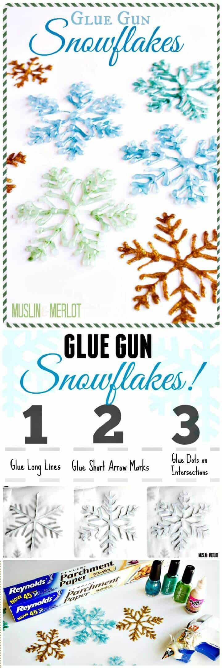 DIY hacer copos de nieve con pistola de pegamento