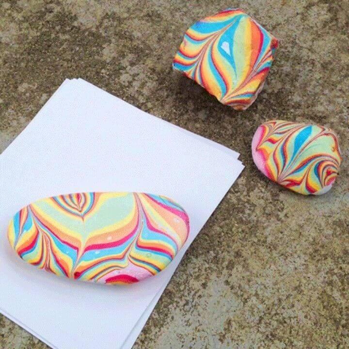 Piedras pintadas pisapapeles veteadas de bricolaje, diseños de pintura de piedra, ideas y patrones de pintura de roca