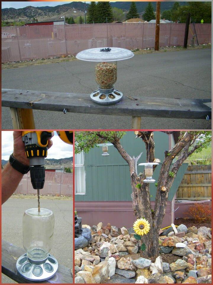 comedero para pájaros reutilizado con tarro de albañil