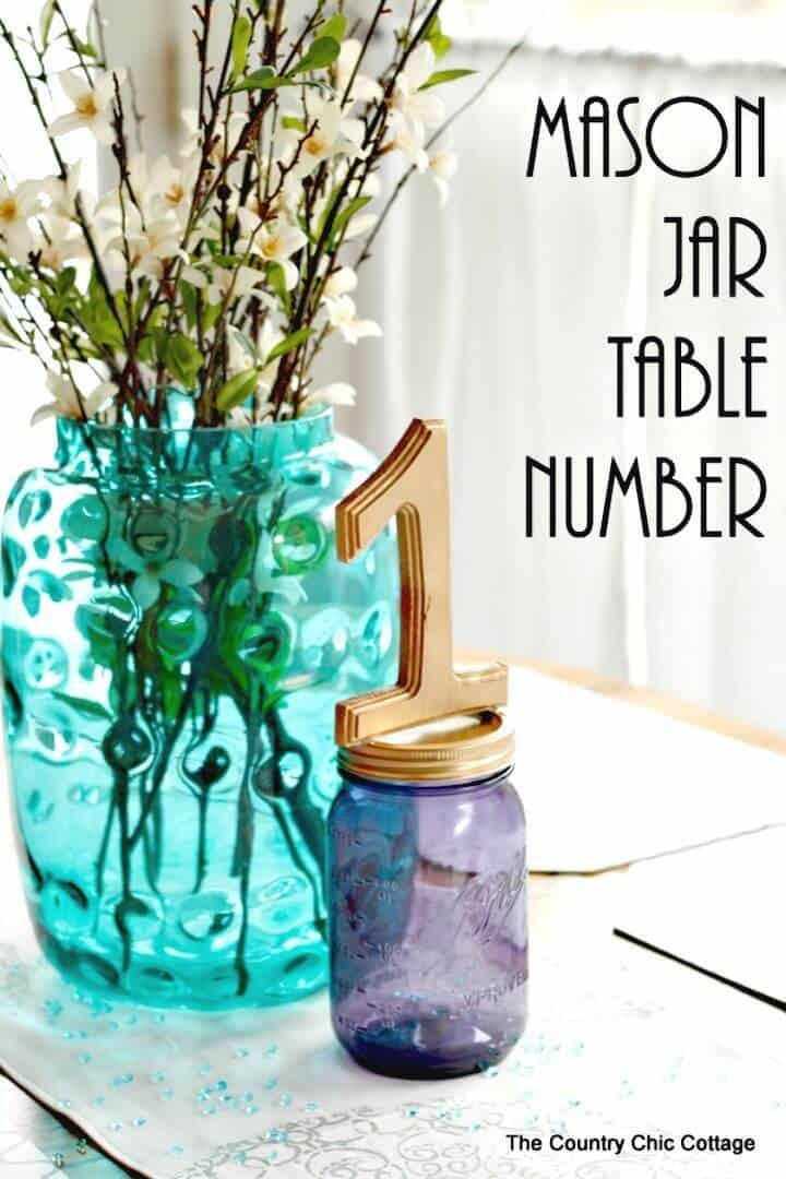Número de mesa de tarro de masón de bricolaje para bodas