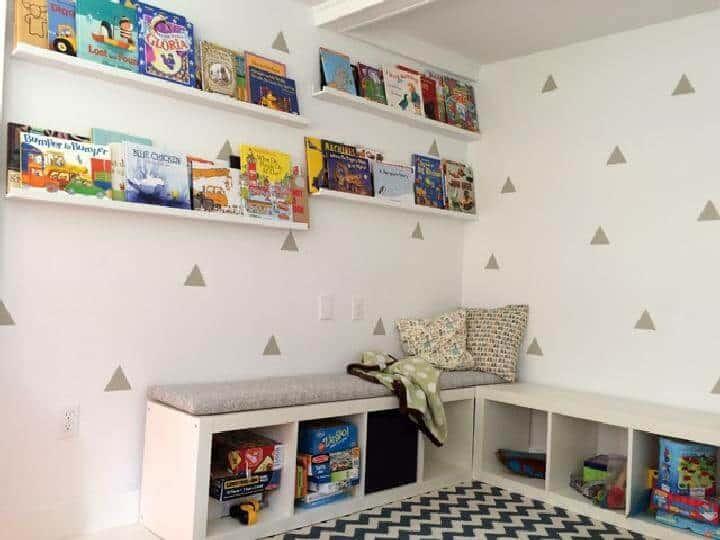 Banco de lectura de esquina moderno IKEA Kallax de bricolaje