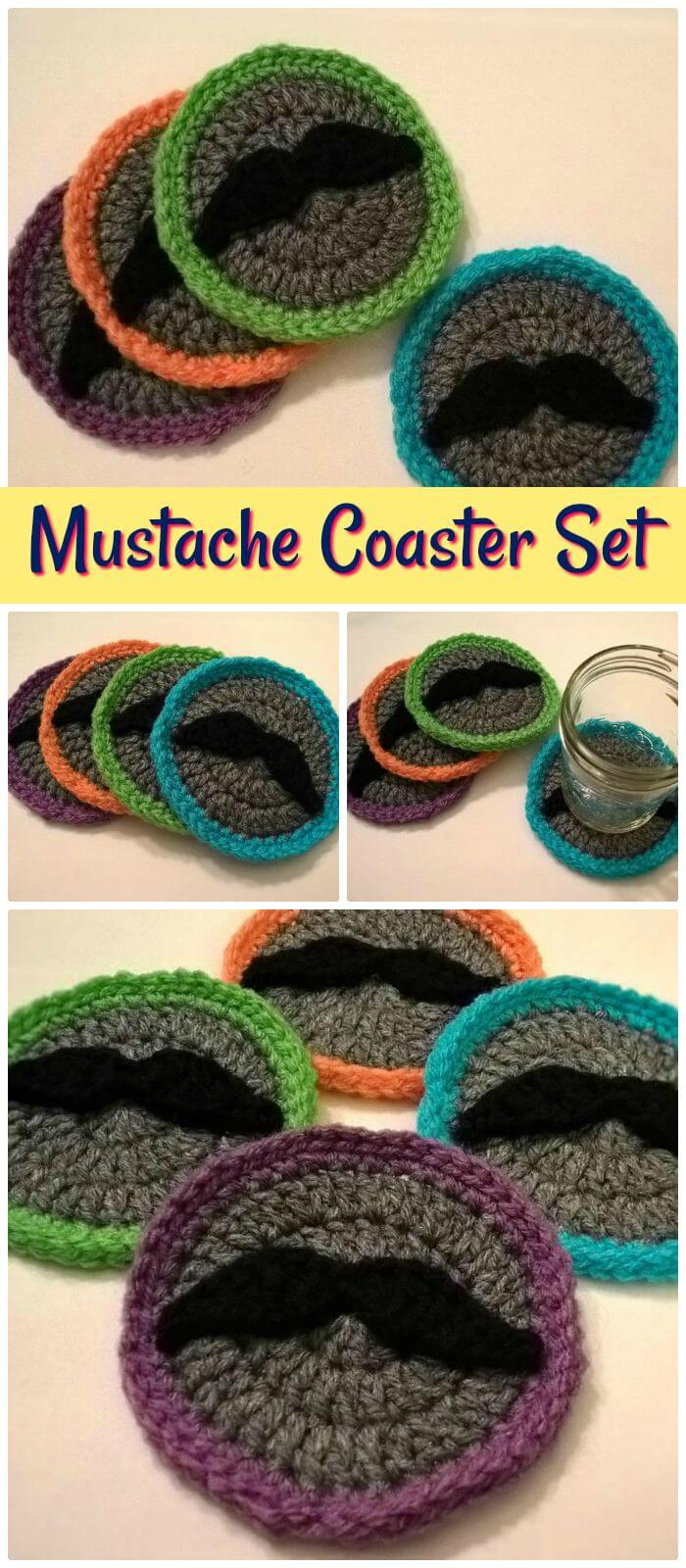 DIY Moustache Coaster Set-Free Crochet Pattern, ¡Posavasos de crochet rápidos y fáciles con patrones gratuitos completos!  ¡Patrones sencillos de crochet posavasos gratis!