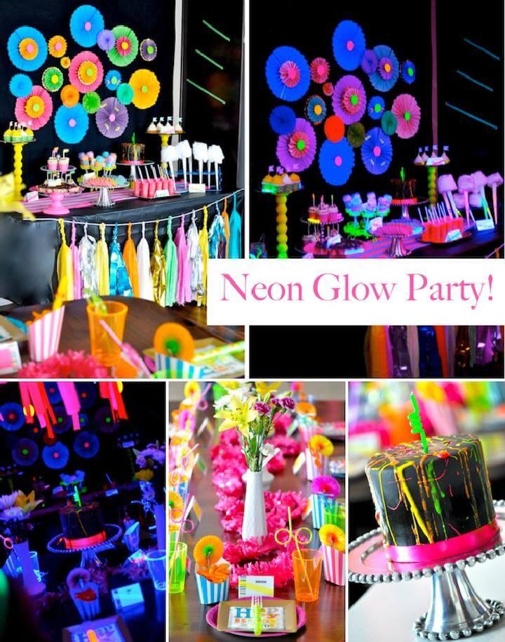 Idea de fiesta de cumpleaños adolescente DIY Neon Glow