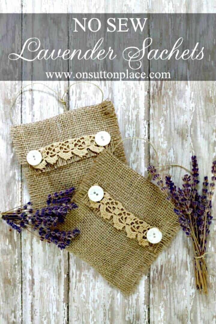Bolsitas de lavanda de arpillera sin coser de bricolaje